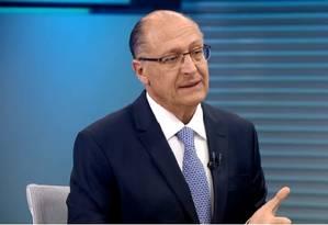 Geraldo Alckmin (PSDB) em entrevista no Jornal da Globo Foto: Reprodução