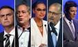 Candidatos a presidente Jair Bolsonaro, Ciro Gomes, Marina Silva, Geraldo Alkmin e Fernando Haddad Foto: Arquivo O Globo
