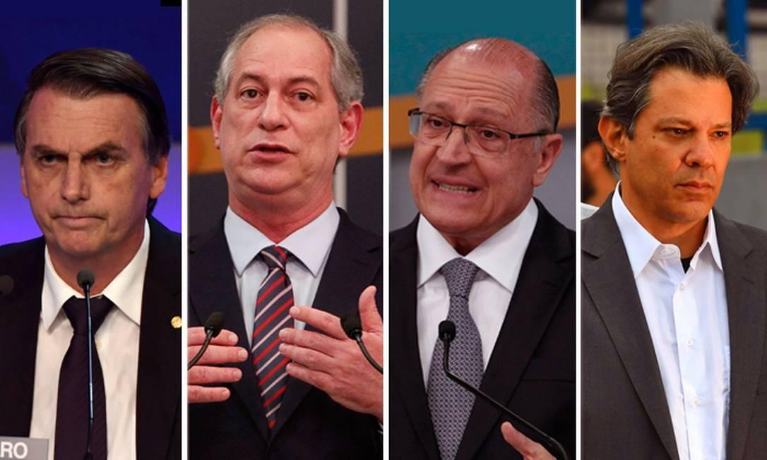 Montagem dos presidenciáveis Jair Bolsonaro (PSL), Ciro Gomes (PDT), Geraldo Alckmin (PSDB) e Fernando Haddad (PT) Foto: Agência O Globo