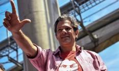 Fernando Haddad participa de atividade de campanha em São Paulo Foto: Nelson Almeida/AFP/19-09-2008