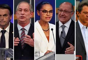 Montagem dos presidenciáveis Jair Bolsonaro (PSL), Ciro Gomes (PDT), Marina Silva (Rede), Geraldo Alckmin (PSDB) e Fernando Haddad (PT) Foto: Agência O Globo