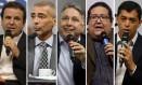 Os candidatos ao governo do Rio Eduardo Paes (DEM), Romário (Podemos), Anthony Garotinho (PRP), Tarcísio Motta (Psol) e Indio da Costa Foto: Arquivo O GLOBO