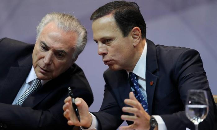 O presidente Michel Temer e o candidato João Doria Foto: Paulo Whitaker / Reuters
