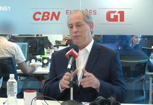 Ciro Gomes, candidato à Presidência pelo PDT Foto: Reprodução/G1 e CBN