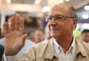 Candidato do PSDB à Presidência, Geraldo Alckmin, durante campanha Foto: Marcos Alves / Agência O Globo
