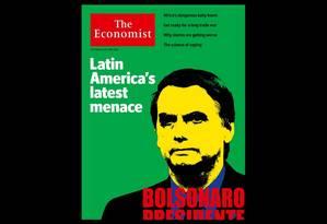 Capa da revista 'The Economist' diz que Bolsonaro é 'a mais recente ameaça da América Latina' Foto: Reprodução
