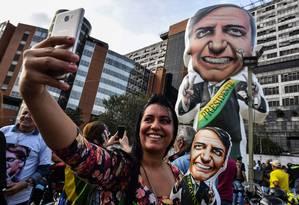 Manifestação de apoio ao candidato Jair Bolsonaro realizada no último dia 7 de setembro, em frente ao Hospital Albert Einstein, em São Paulo Foto: Nelson Almeida / AFP