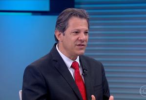 Fernando Haddad, candidato do PT à Presidência da República Foto: Reprodução/TV Globo