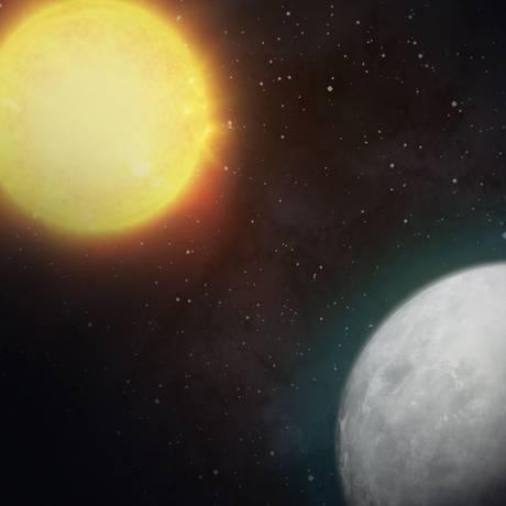 Ilustração de um exoplaneta na órbita de uma estrela parecida com o Sol: primeiros resultados do Tess empolgaram responsáveis pela missão Foto: Nasa