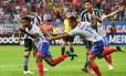 Ramires comemora o primeiro gol do Bahia sobre o Botafogo, na Sul-Americana Foto: NELSON ALMEIDA / NELSON ALMEIDA/AFP