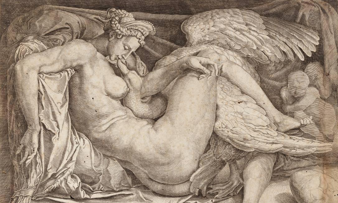 Obra do ateliê de Rafael Sanzio, 'Leda', da exposição 'Rafael e a definição da beleza' Foto: Divulgação
