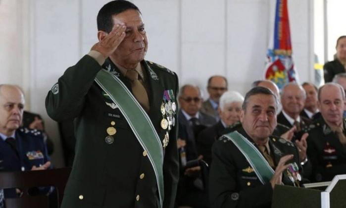 O general Hamilton Mourão, vice na chapa de Jair Bolsonaro Foto: Michel Filho / Agência O Globo