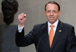 Procurador-geral adjunto dos EUA, Rod J. Rosenstein Foto: SAUL LOEB / AFP