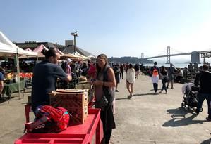 Barraquinhas com produtos orgânicos na Baía de São Francisco Foto: Bruno Calixto