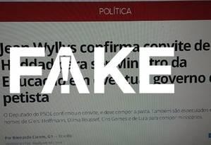 Print de matéria do G1 sobre convite a Wyllys para ser ministro da Educação é falso Foto: Alexandre Mauro/Arte G1