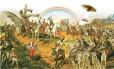"""Ilustração sobre o quadro """"Independência ou morte"""", de Pedro Américo Foto: Ilustração de André Mello"""
