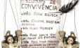 """Arte sobre cartaz na parede, com o título """"Regras de Convivência"""", observado em presídio de segurança máxima Foto: André Mello / Editoria de Arte O Globo"""