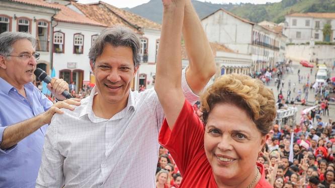 Fernando Haddad faz campanha em Ouro Preto (MG) com Fernando Pimentel e Dilma Rousseff Foto: Ricardo Stuckert / Divulgação