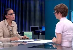 ELEIÇÕES 2018 Marina Silva dá entrevista ao Jornal da Globo Foto: Picasa / Reprodução