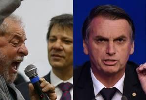 O ex-presidente Lula e os candidatos Fernando Haddad e Jair Bolsonaro Foto: Pedro Kirilios / Nelson Almeida / Agência O Globo / AFP