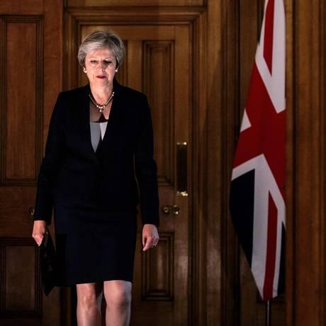 Primeira-ministra britânica, Theresa May: se tiver acordo de Brexit vetado, governo terá período turbulento pela frente Foto: JACK TAYLOR / Getty Images