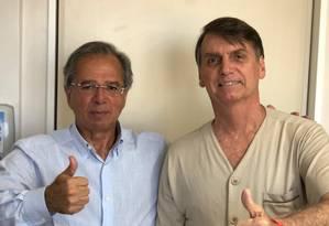 Paulo Guedes visitou Bolsonaro Foto: Reprodução do Twitter