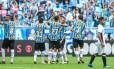 Jogadores comemoram o gol da vitória do Grêmio Foto: Divulgação/Grêmio FBPA