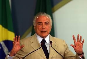 O presidente Michel Temer, durante cerimônia no Palácio do Planalto Foto: Givaldo Barbosa/Agência O Globo/21-09-2018