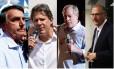Os candidatos à Presidência Jair Bolsonaro, Fernando Haddad, Ciro Gomes e Geraldo Alckmin Foto: Montagem sobre fotos de arquivo