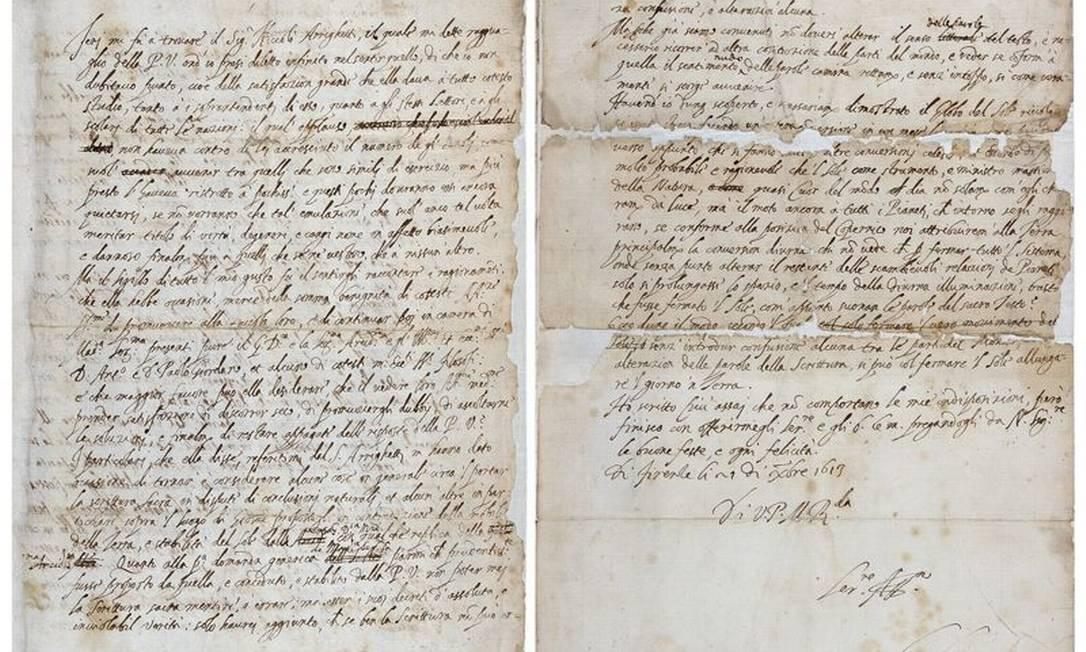 A primeira e a última página da carta escrita por Galileu Galilei Foto: / The Royal Society