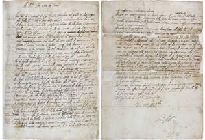 A primeira e a última página da carta escrita por Galileu Galilei Foto: The Royal Society