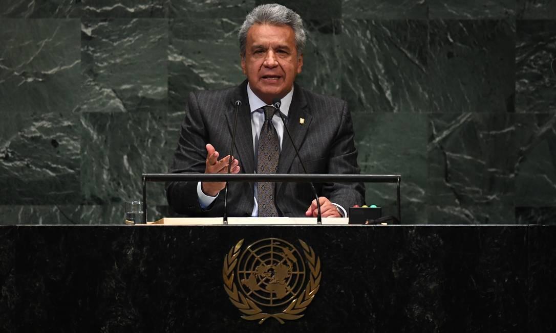 """Lenin Moreno, presidente do Equador, acabou """"furando a fila"""" dos discursos. E não foi por querer. Por tradição, os discursos começam com o representante do Brasil e, na sequência, o presidente americano, anfitrião. Como Trump se atrasou, Moreno acabou sendo antecipado na ordem Foto: TIMOTHY A. CLARY / AFP"""