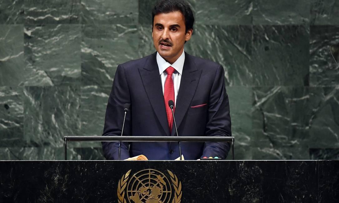 """O emir Tamim Bin Hamad al-Thani, do Qatar, deu uma declaração um tanto controversa na 73ª Assembléia Geral das Nações Unidas nesta terça-feira. Em seu discurso, disse que """"os direitos humanos estão no topo das prioridades do Qatar"""", apesar das denúncias de violações dos direitos humanos no país Foto: TIMOTHY A. CLARY / AFP"""