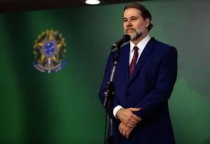 O presidente da República em exercício, Dias Toffoli durante entrevista coletiva Foto: Jorge William/Agência O Globo