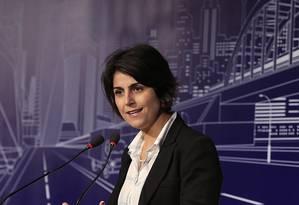 Manuela D'Avila participa de evento com presidenciáveis em São Paulo Foto: Edilson Dantas/Agência O Globo/20-08-2018