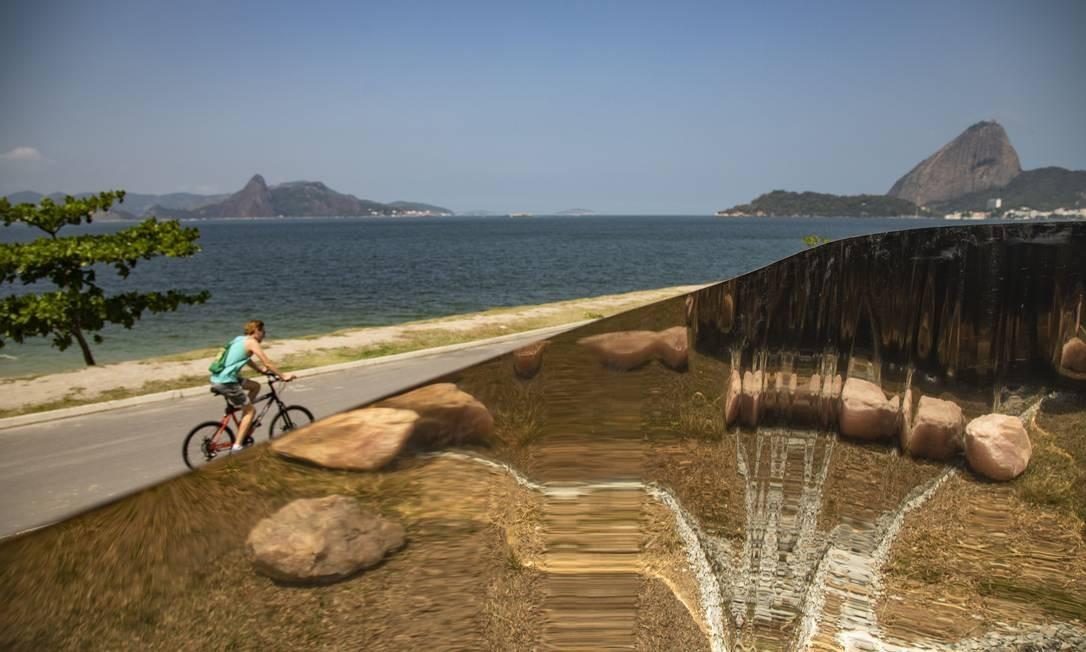 Detalhe de obra de Amelia Toledo, instalada no exterior da ArtRio, na Marina da Gloria Foto: Ana Branco / Agência O Globo