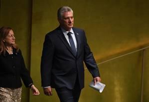 Miguel Díaz-Canel, presidente de Cuba, se encaminha para discursar na Assembleia Geral da ONU Foto: TIMOTHY A. CLARY / AFP