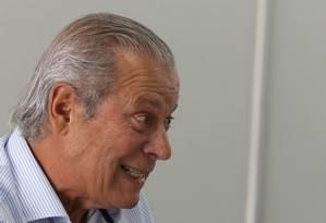 Ex-ministro José Dirceu durante entrevista coletiva sobre o lançamento do seu livro de memórias, em Brasília 29/08/2018 Foto: Givaldo Barbosa / Agência O Globo