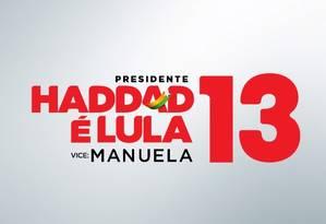 Propaganda do PT mostra o nome de Lula junto com os de Haddad e Manuela Foto: Reprodução