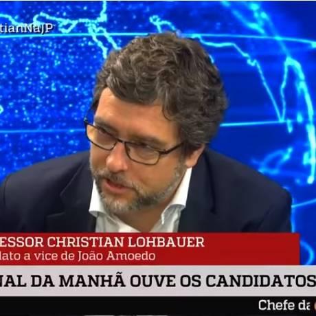 Trata-se de uma montagem feita em cima de entrevista de Christian Lohbauer à rádio Jovem Pan; Lohbauer não fez tal afirmação sobre o candidato do PSL Foto: Reprodução