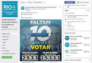 Perfil de superintendência da Grande Inhaúma e Complexo do Alemão, da prefeitura do Rio, compartiha post de propaganda eleitoral no Facebook Foto: Reprodução Facebook