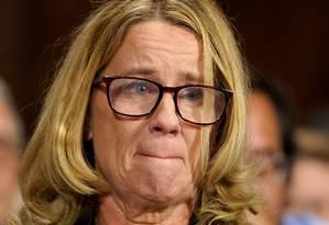 Psicóloga Christine Ford presta depoimento a Comissão Judiciária do Senado em Washington sobre acusações de violência sexual contra juiz Brett Kavanaugh Foto: POOL / REUTERS