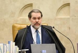 O presidente do STF, ministro Dias Toffoli, durante sessão Foto: Ailton de Freitas / Agência O Globo