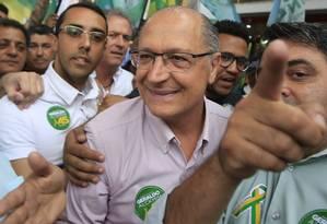O candidato Geraldo Alckmin (PSDB) cumpre agenda de campanha em São Miguel Paulista Foto: Edilson Dantas / Agência O Globo