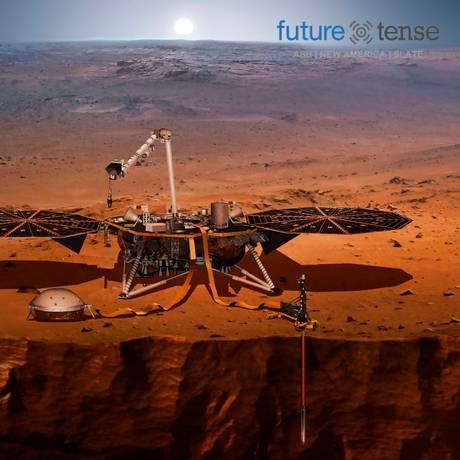 Interpretação artística da Nasa de uma de suas máquinas de investigação Sismica de Marte Foto: AFP / NASA /HO