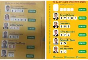 Santinhos pedem voto tanto para Paes e Bolsonaro quanto para Paes e Haddad, que não fazem parte da coligação do ex-prefeito Foto: Reprodução