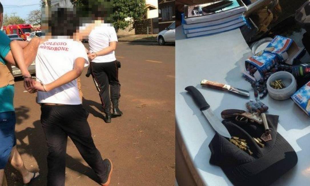 Adolescentes foram apreendidos e armas encontradas na casa de um deles Foto: Reprodução