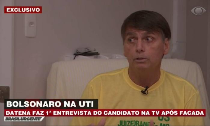 O candidato à Presidência da República Jair Bolsonaro em entrevista ao jornalista José Luiz Datena Foto: Picasa / Reprodução