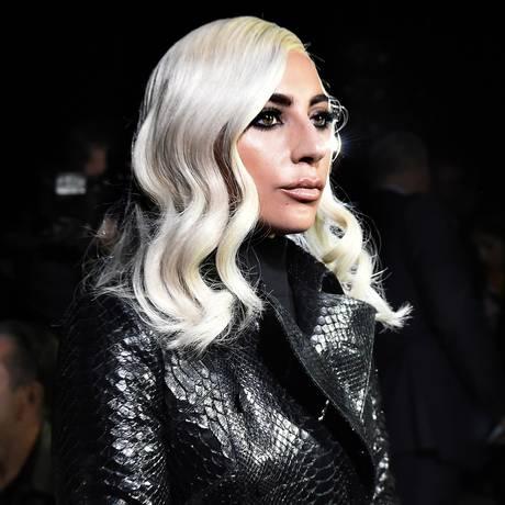 Lady Gaga no desfile da Celine em Paris Foto: Anne-Christine Poujoulat/AFP