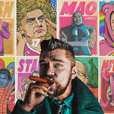 Obras do ilustrador Butcher Billy fazem ponte entre cultura pop e política Foto: Reprodução